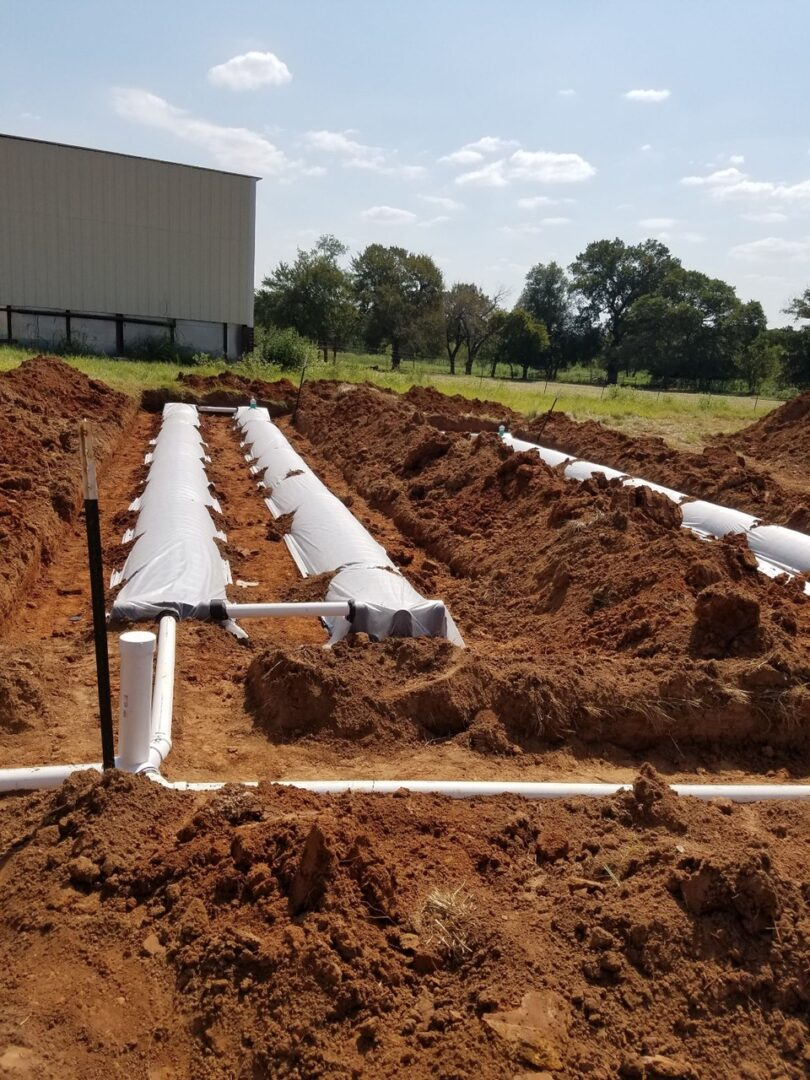 Large scale industrial aerobic treatment system installation project drain field